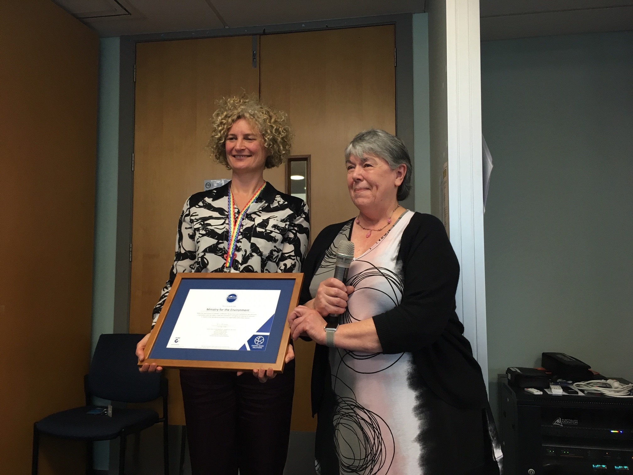 Enviro-Mark Solutions CEO, Dr Ann Smith presents CEMARS certificate to MfE COO Vicky Robertson.