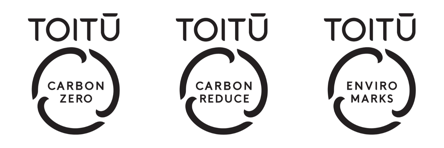 Toitū carbonzero, Toitū carbonreduce, and Toitū enviromark certification logos