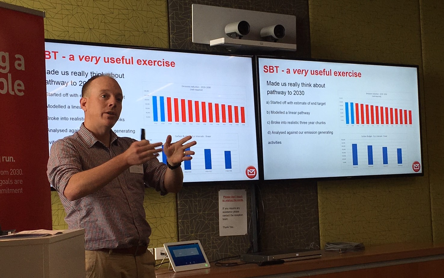 Sam Bridgman explaining NZ Post's science-based targets