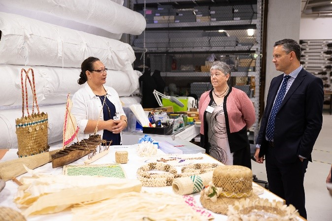 Enviro-Mark Solutions Chief Executive Dr Ann Smith, and Minister for Climate Change James Shaw, with Paula Faiva, Climate Change Manager, Tokelau Climate Change Unit, Government of Tokelau.