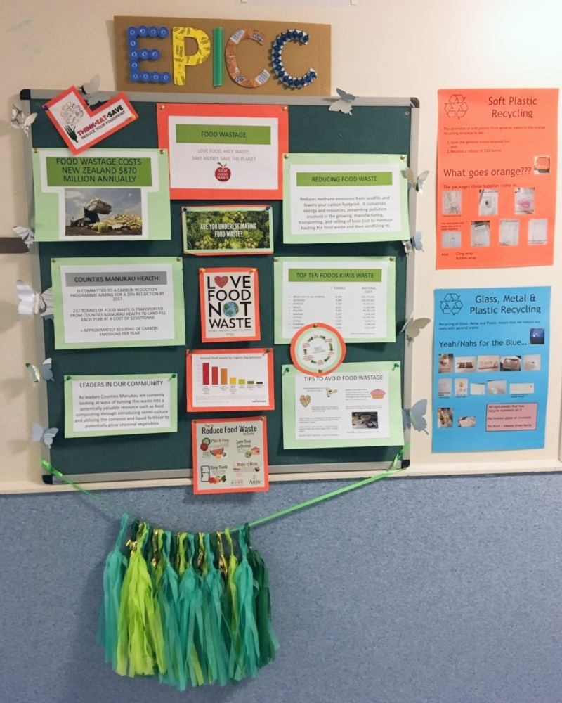The EPICC (Environmental Protectors in Critical Care) teams notice board which gets a revamp on a quarterly basis