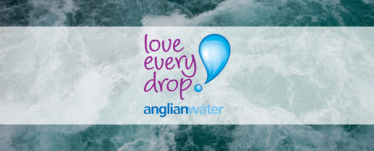 Anglian Water logo over water