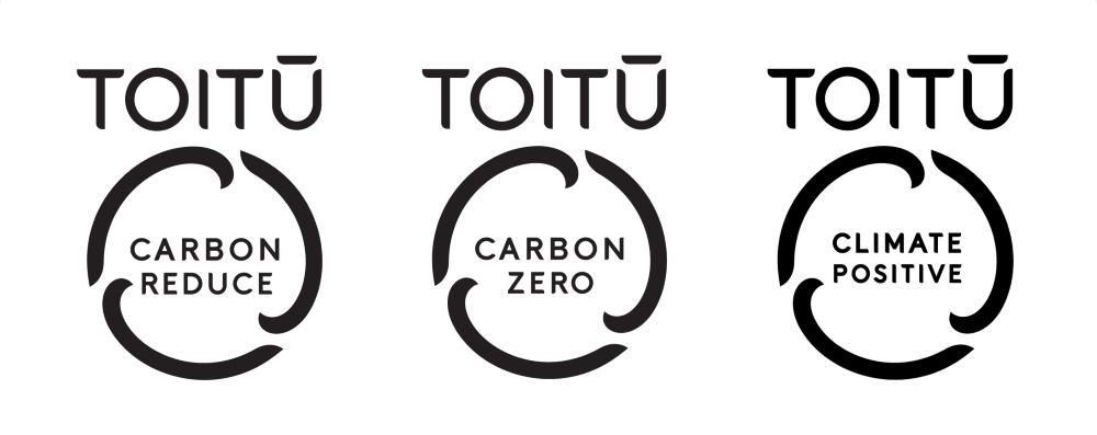 Toitū carbonreduce, Toitū carbonzero and Toitū climate positive logos