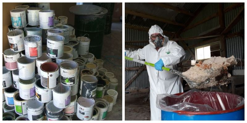 Left: Paint cans after being collected and decanted as part of the Resene PaintWise programme; Right: ChemCollect Driver Mark Rose collects 2.3 tonnes of DDT from a rural property during The Great DDT Muster in 2018
