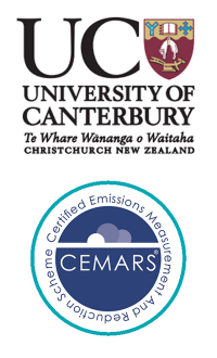 University of Canterbury logo and CEMARS certification logo