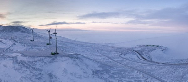 The windfarm on Crater Hill with Scott Base below – Photo by Anthony Powell © Antarctica New Zealand Pictorial Collection