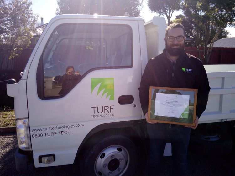 Turf Technologies holding their first carboNZero Certificate