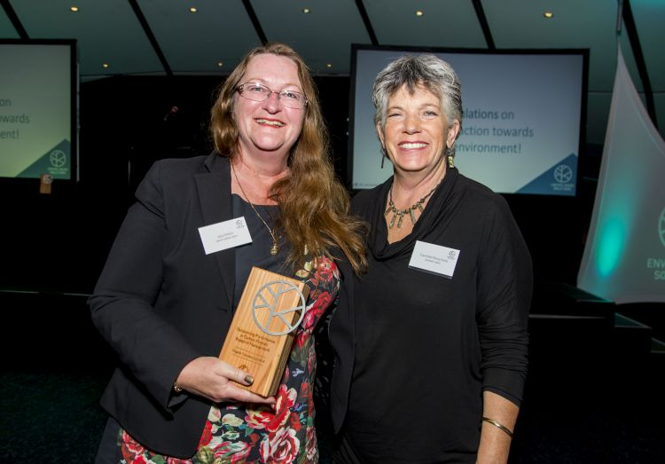 Ailsa Perkins celebrates Urgent Couriers' award with Councillor Penny Hulse