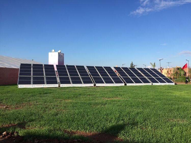 Solar panels on display outside the conference venue for COP22