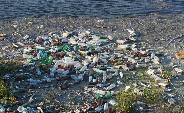 bottles in river