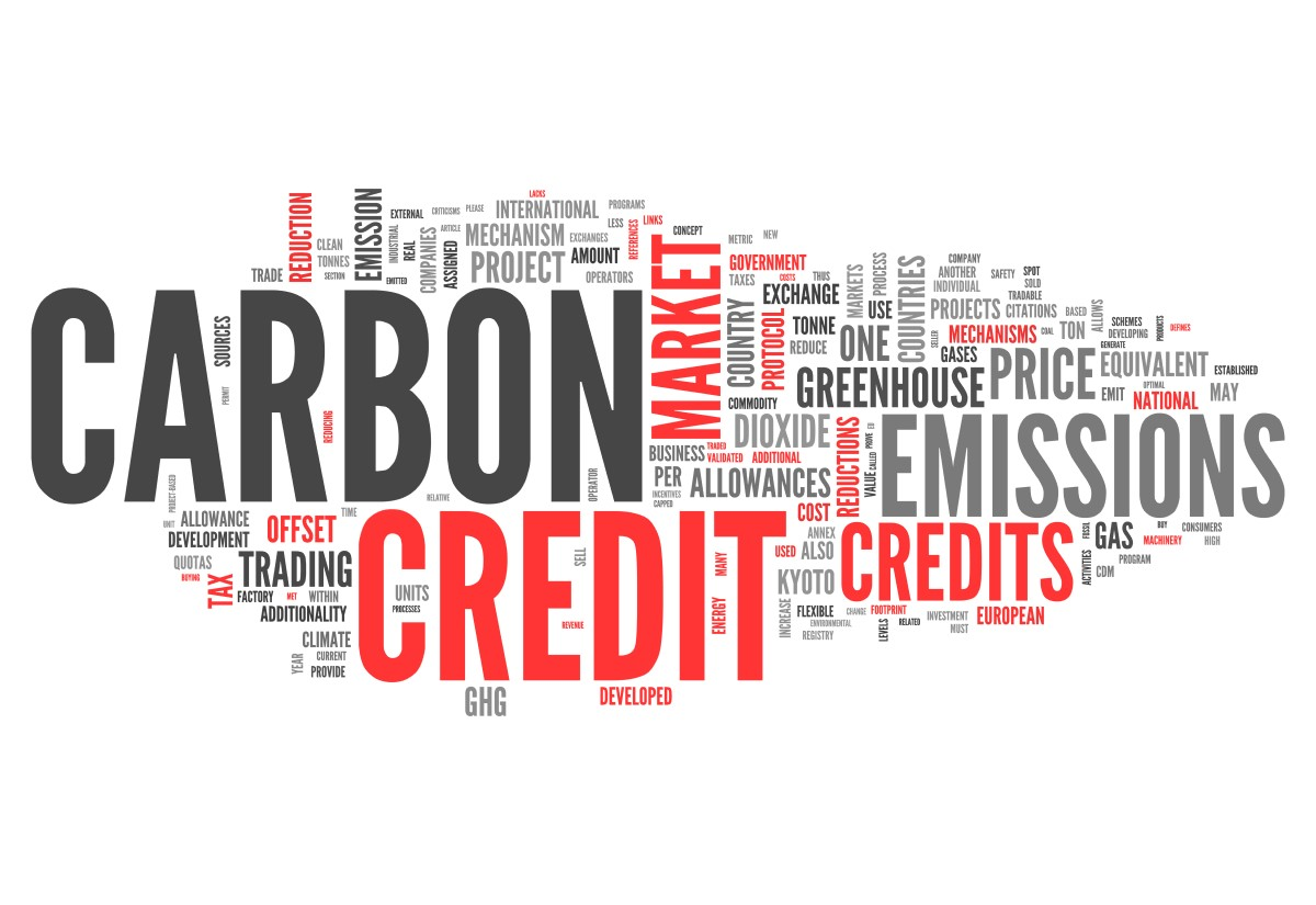 Word cloud of carbon credit terms like greenhouse, market, price, Offset, Trading etc