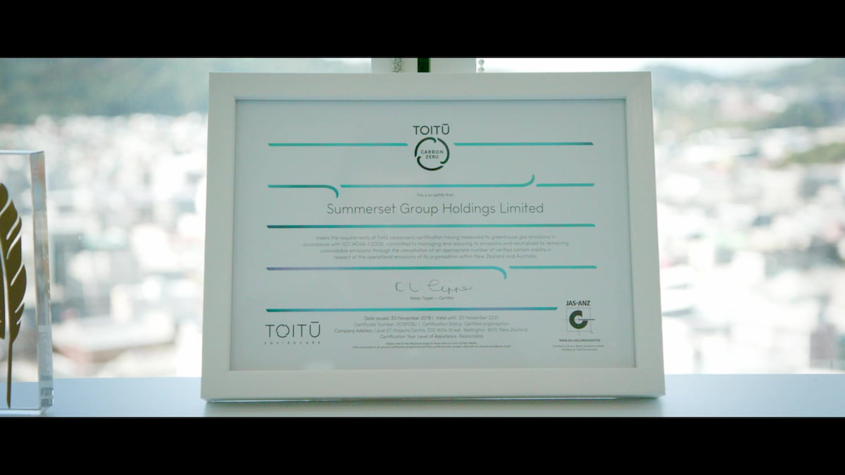 Summerset Holdings awarded the Toitū carbonzero certificate