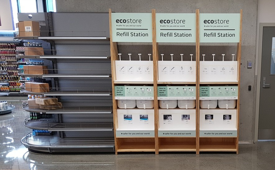 ecostore refill station at a New Zealand supermarket