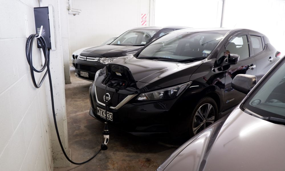 Nissan Leaf vehicle plugged in to charge