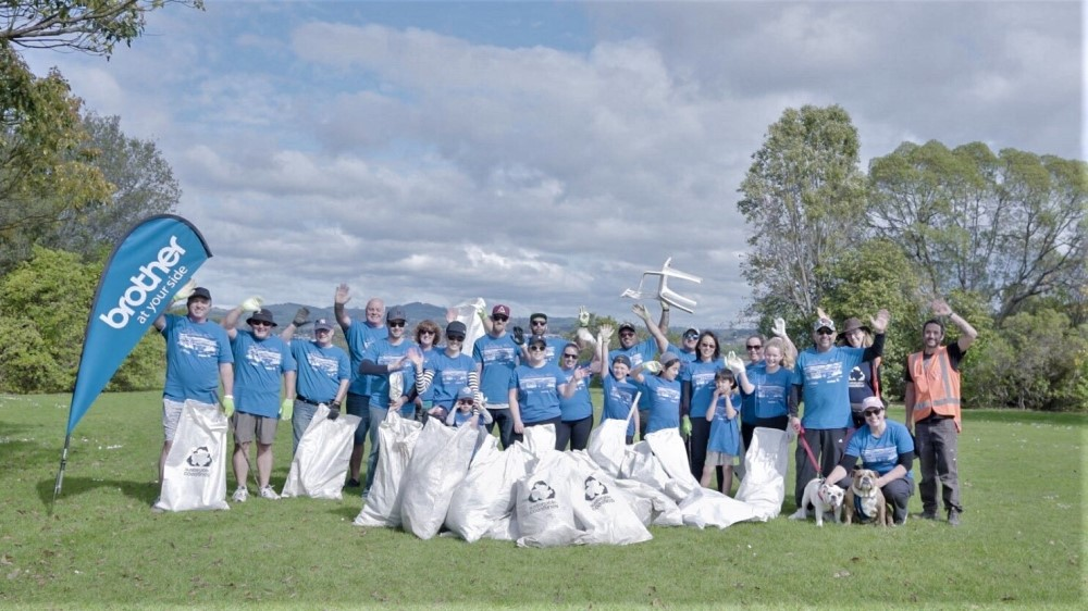 Brother NZ staff undertaking a coastal clean-up project through Sustainable Coastlines